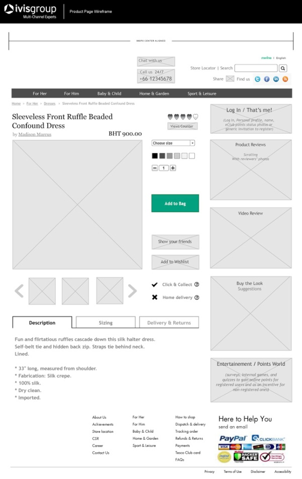 Thai Online store - Wireframes Product Page