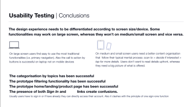 User Testing Conclusions (Extract)